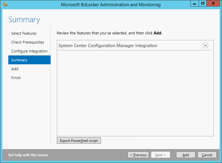 Microsoft BitLocker Administration and Monitoring 2 5 installation