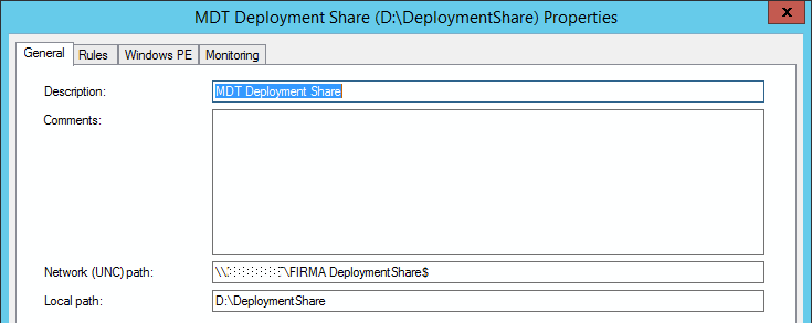 MDT Deployment Share properties