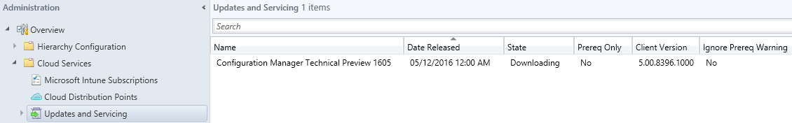 SCCM Technical Preview 1605